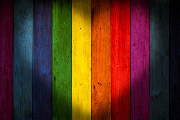 LGBT concept color wood background, rainbow colorful wooden wall.