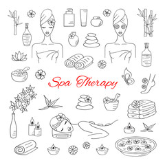 Spa hand drawn doodle icons. Vector illustrations of Beautiful woman spa treatment, beauty procedures, therapy, massage, foot bath, wellness.