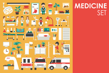 Medical Big Collection in flat design background concept. Infographic elements set with hospital staff doctor and nurse around medicine tools equipment
