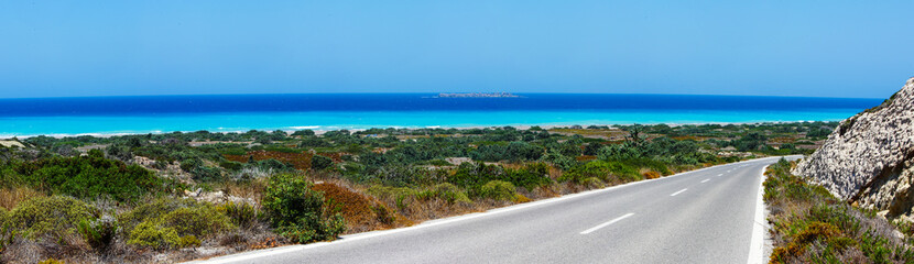 Landscapewith a road along the sea, Rhodes, Greece