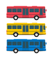 city bus in flat style side view isolated on white background