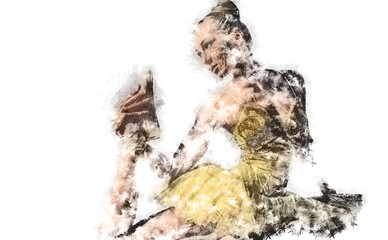 Ballerina. Digital charcoal drawing