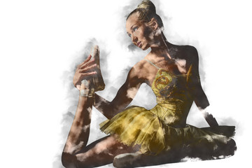 Lovely ballerina in yellow tutu. Digital art