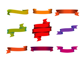 Vector design elements: multicolored ribbons