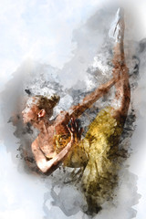 Lovely ballerina. Digital watercolor painting.