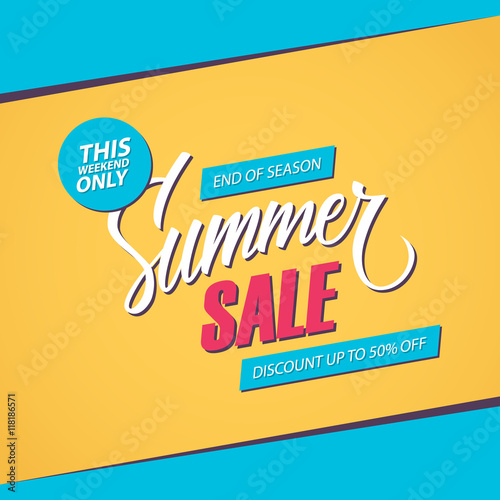 "Weekend Sale Banner: ""Summer Sale. This Weekend Special Offer Banner, Discount"