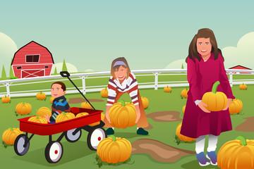 Kids on a Pumpkin Patch Trip