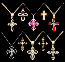 Illustration set gold and silver cross pendant with gems