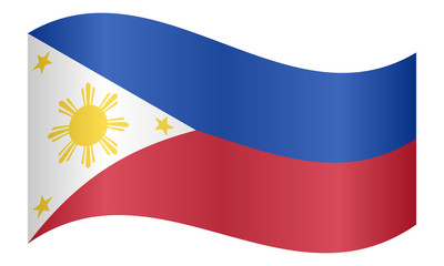 Flag of the Philippines waving on white background