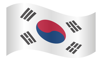 Flag of South Korea waving on white background