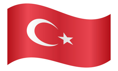Flag of Turkey waving on white background