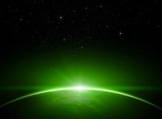 Green dawn in space