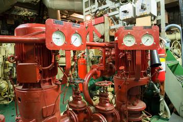 fire sprinkler system in the ship engine room