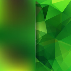 Abstract polygonal green background. Green geometric vector