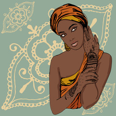 portrait of pretty indian ethnic Girl in traditional turban, with henna tattoo mehendy on her hand. vector. copy space.