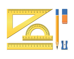 School accessories. Measuring tool for geometry. Plastic ruler, square, protractor, eraser, pencil. Vector illustration on white background.