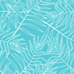 Palm leaves seamless pattern background