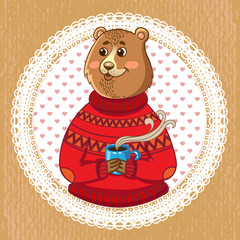 funny illustration.Cute bear with cup of drink on napkin