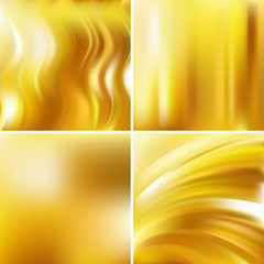 Set of four yellow square backgrounds. Abstract vector illustration