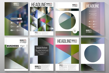 Business templates for brochure, flyer or booklet. Abstract multicolored background, nature landscapes, geometric vector, triangular style illustration