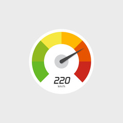 Speedometer vector icon isolated on grey background with speed indicator