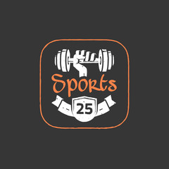 Gym workout logo emblem vector isolated on dark black background, drawn hand holding dumbbell with sports text and ribbon label, fitness, sport training old retro logotype, vintage handdrawn style