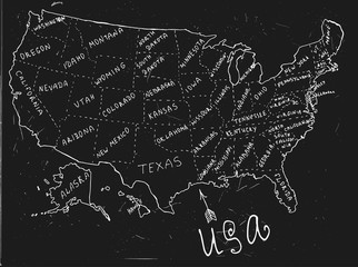 USA Hand Drawn Map 01 A