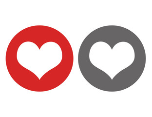 Heart flat icons in red and gray circle.