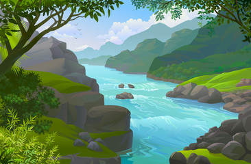 River flow through a rocky terrain