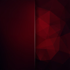 Abstract polygonal vector background. Dark red geometric vector