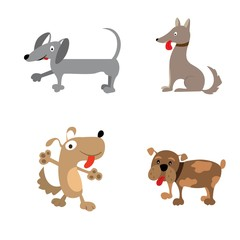 vector illustration of dog collection. Cartoon