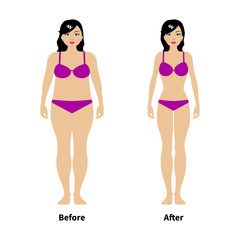 Vector illustration of a concept of weight loss