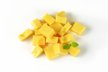 cubes of emmental cheese