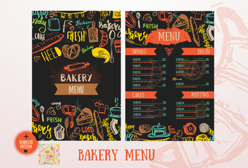 Bakery cafe menu design template. Vintage hand-drawn baking sketch with lettering with Bread, cake, tea, muffins.