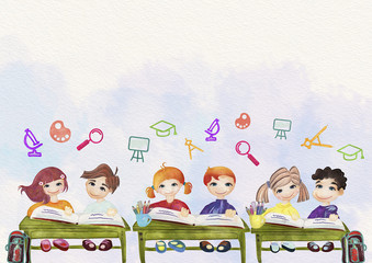 Back to school background. Education concept. Watercolor