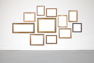 Classic frame on white cement wall in showroom and gallery.