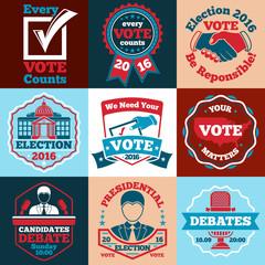 Set of Vote vector labels, badges for elections etc.