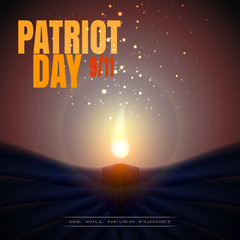 Vector picture of Patriot Day on a background with candle.