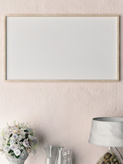 Close up blank poster on rose plaster wall, 3d illustration