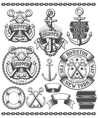 Marine emblem with anchors. Tattoos with anchors, chains, in vintage style. Text on the banners can be easily removed.