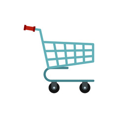 Basket on wheels icon in flat style isolated on white background. Purchase symbol