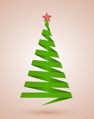 Christmas tree made from paper stripe, vector illustrtaion