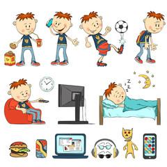 Boy in different situations. Schoolboy eats, drinking cocktail, have a cookie. Boy talking on the phone, playing football, watching television sitting in a chair, talking wearily.