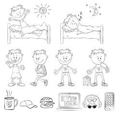 Boy draw the outline of a sketch style. The boy wakes up, sleeping in the bed. Boy brushing his teeth, comes with a backpack, drinking a cocktail with cookies.