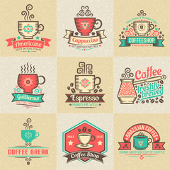 Logos with coffee cups, banners and ribbons.