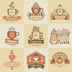 Colored logos for coffee bar. Vintage stylish coffee logo. Texture grouped separately and are easily removed.
