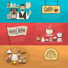 Coffee banners in a flat style design. Horizontal posters on theme of coffee.