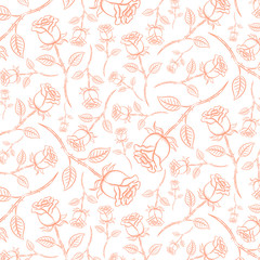 Seamless pattern of roses. Pink rose in vintage style. Pattern stored in a file on the swatches panel.