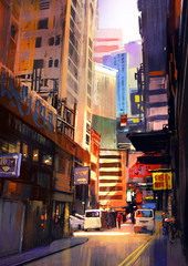 urban street with buildings, city alleyway,colorful painting,illustration