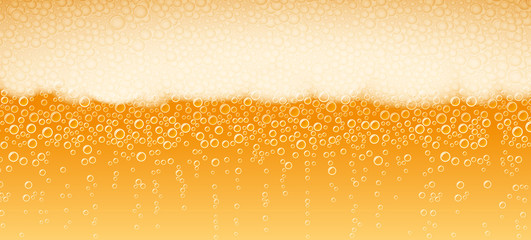 Beer with foam and bubbles of Lager Light Bitter varieties; Vector background Eps10